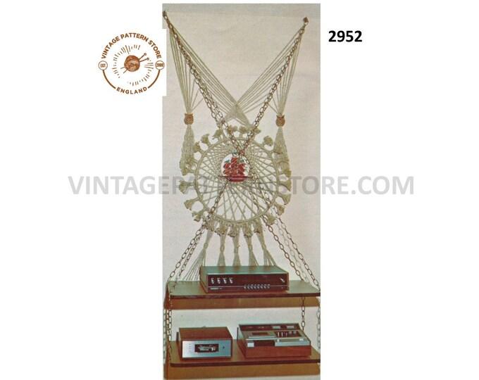 70s vintage macrame furniture furnishings HiFi and record player shelf unit pdf macrame pattern Instant PDF download 2952