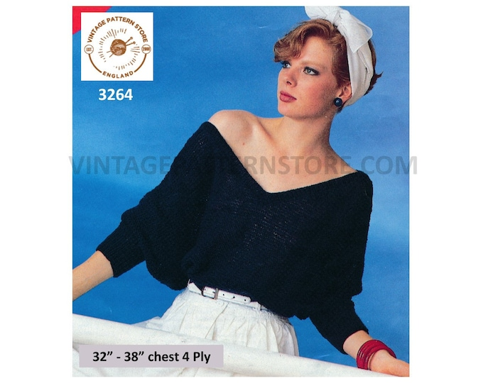 """Ladies Womens 90s simple and easy to knit V neck off shoulder batwing sweater jumper pdf knitting pattern 32"""" to 38"""" chest PDF Download 3264"""