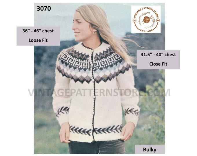"""Womens Ladies Mens 80s vintage fair isle yoke yoked chunky knit round neck raglan cardigan pdf knitting pattern 31.5"""" to 46"""" Download 3070"""