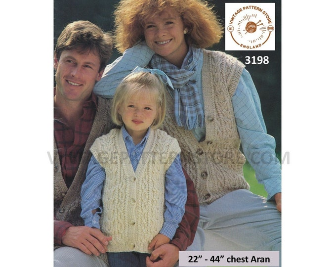"""Ladies Womens Mens Boys Girls 80s Family V neck cable cabled cap sleeve aran waistcoat pdf knitting pattern 22"""" to 44"""" Instant Download 3198"""