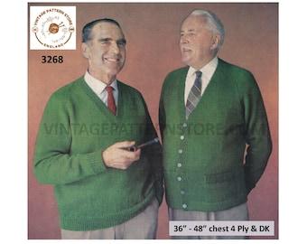 "Mens Mans 60s vintage plain & simple easy to knit 4 ply V neck raglan cardigan sweater jumper pdf knitting pattern 36"" to 48"" Download 3268"