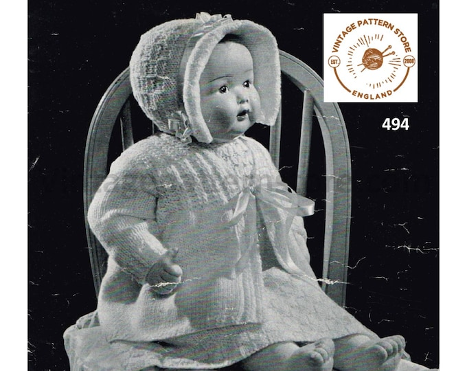 "30s vintage 14"" 18"" 2 ply and 3 ply baby dolls clothes pram set layette pdf knitting pattern 10 items to knit Instant PDF Download 494"