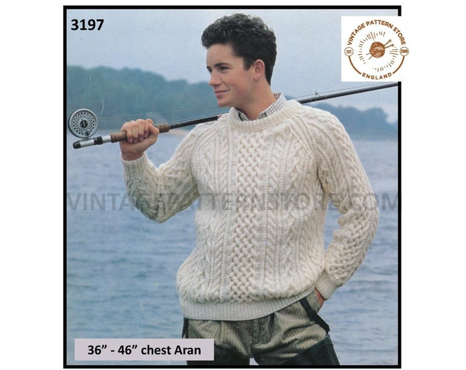 "Mens Mans 90s crew neck cable cabled aran raglan sweater jumper pdf knitting pattern 36"" to 46"" chest Instant PDF download 3197"