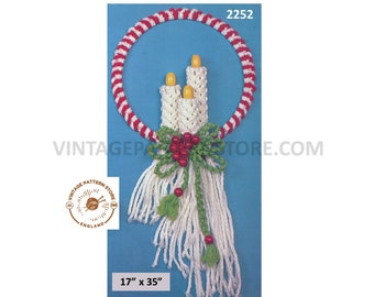 """70s vintage Macrame Christmas Holiday candles door wreath decoration ornament pdf macrame pattern 35"""" by 17"""" Instant PDF download 2252"""