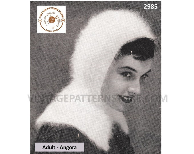 Ladies Womens 50s vintage easy to knit angora balaclava parka hood pdf knitting pattern One Size Adult Instant PDF download 2985