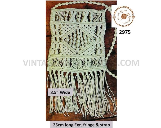 """70s vintage easy to make fringed macrame shoulder bag purse pdf macrame pattern 8.5"""" by 9.73"""" Exc fringe & strap Instant PDF Download 2975"""