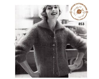 """Ladies Womens 50s vintage easy to knit collared raglan mohair cardigan jacket pdf knitting pattern 34"""" to 38"""" chest Instant PDF download 853"""