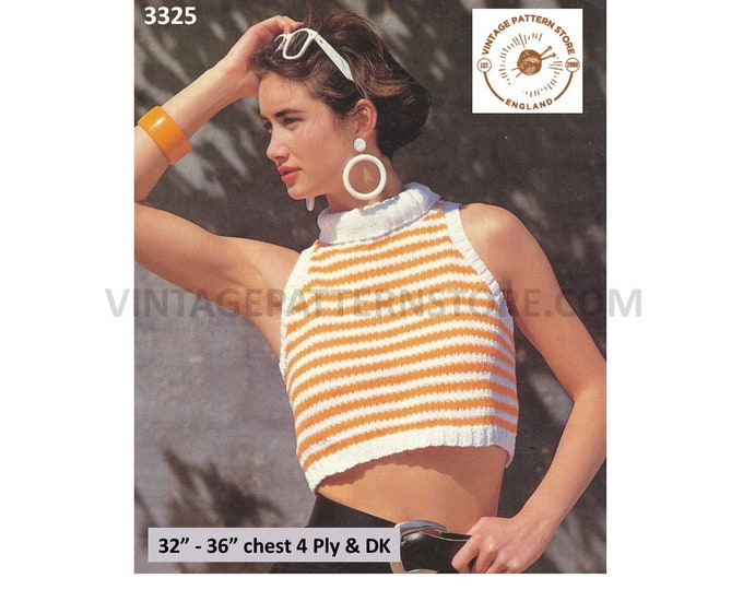 """Womens Ladies 80s turtleneck polo neck sleeveless crop top slipover sweater vest pdf knitting pattern 32"""" to 36"""" Instant PDF Download 3325"""