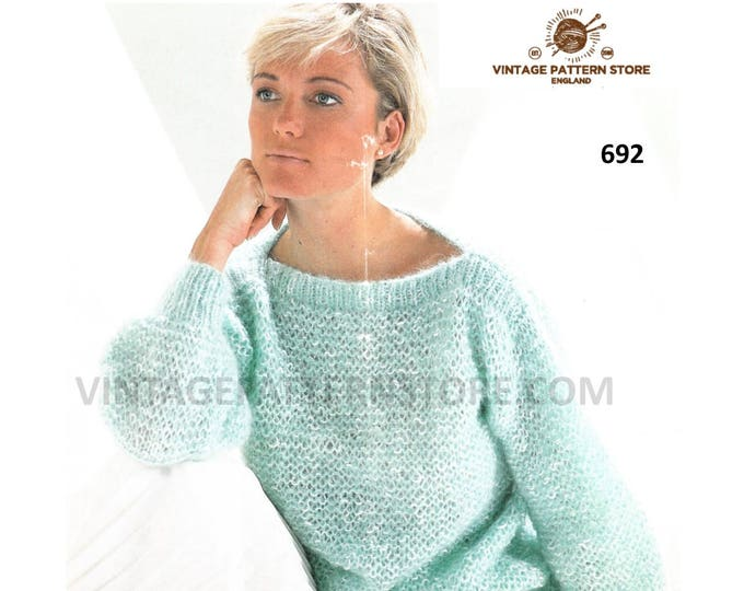 """Ladies Womens 90s easy to knit slash neck drop shoulder aran sweater jumper pdf knitting pattern 28"""" to 40"""" chest Instant PDF download 692"""