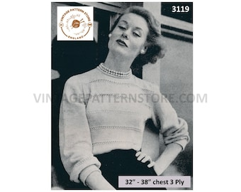 """Ladies Womens 50s vintage 3 ply round neck openwork lacy lace striped raglan sweater jumper pdf knitting pattern 32"""" to 38"""" Download 3119"""