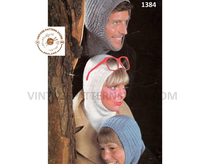 Ladies Womens Mens Boys Girls 70s vintage simple and easy to knit 4 ply family balaclava pdf knitting pattern ages 8 to adult Download 1384