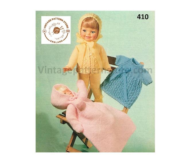 "80s vintage 12"" 14"" 16"" DK Dolls clothes coat bonnet dress leggings and sleeping bag pdf knitting pattern Instant PDF download 410"