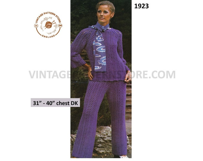 """Ladies Womens 70s vintage DK flares flared trouser suit with round neck raglan sweater jumper pdf crochet pattern 31"""" to 40"""" Download 1923"""