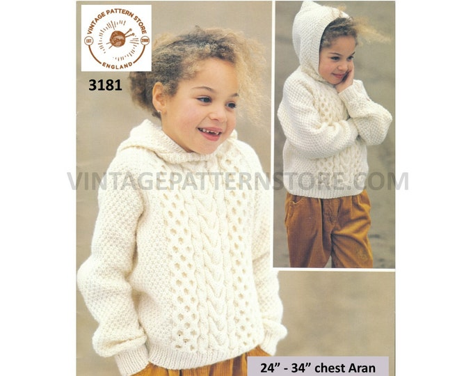 """Girls Boys 90s cable panel cabled raglan aran hoodie hooded sweater jumper with hood pdf knitting pattern 24"""" to 34"""" chest PDF download 3181"""