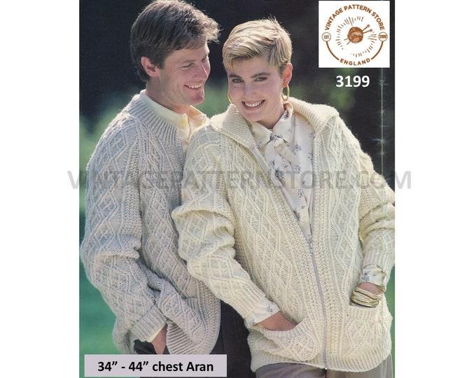 "Ladies Womens Mens 80s vintage round neck collared cabled zipped raglan aran jacket cardigan pdf knititng pattern 34"" to 44"" Download 3199"