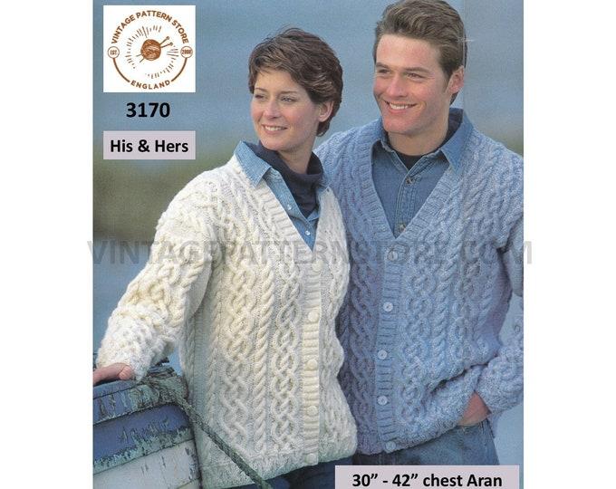 "Ladies Womens Mens Mans 90s V neck cable cabled drop shoulder dolmanaran cardigan jacket pdf knitting pattern 30"" to 42"" PDF download 3170"