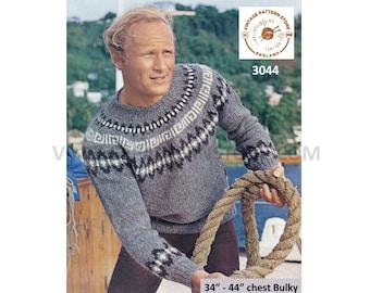 "Mens Mans 80s vintage chunky knit crew neck fair isle yoke yoked raglan sweater jumper pdf knitting pattern 34"" to 44"" chest Download 3044"