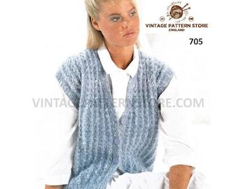 710916fc2 Cap sleeve waistcoat knitting pattern