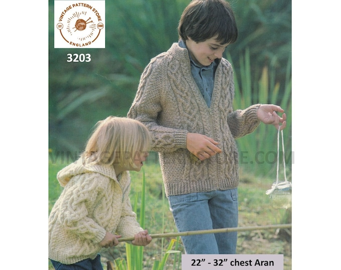 "Childrens Boys Girls 80s vintage V neck cabled cable panel raglan aran hoodie jacket pdf knitting pattern 22"" to 32"" chest PDF download 3203"