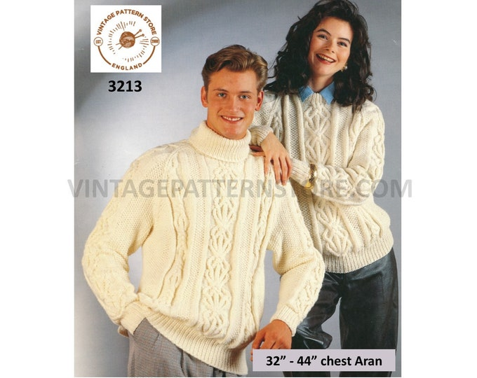 """Womens Ladies Mens 90s polo or crew neck cable cabled aran raglan sweater jumper pdf knitting pattern 32"""" to 44"""" chest PDF download 3213"""