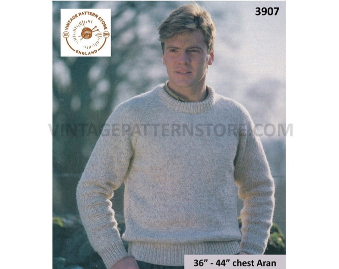 "Mens Mans 90s simple and easy to knit crew neck raglan aran sweater jumper pullover pdf knitting pattern 36"" to 44"" PDF download 3907"