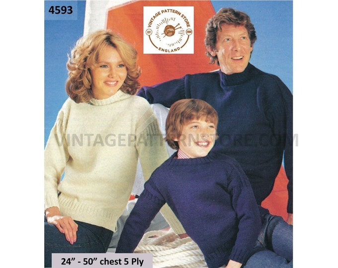 """Womens Mens Boys Girls 80s Family 5 ply oversized plus size extra large sweater jumper pdf knitting pattern 24"""" to 50"""" Download 4593"""