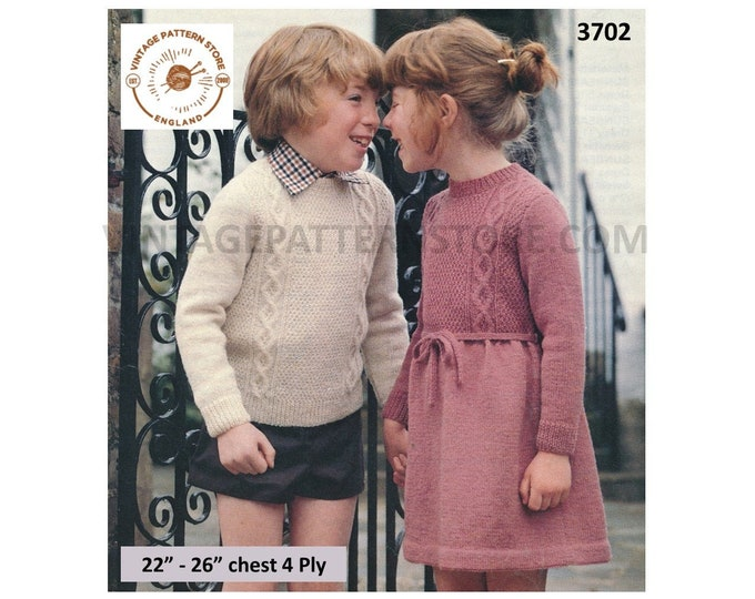 """Toddlers Boys Girls 80s vintage round neck cable cabled raglan sweater jumper and dress pdf knitting pattern 22"""" to 26"""" Download 3702"""