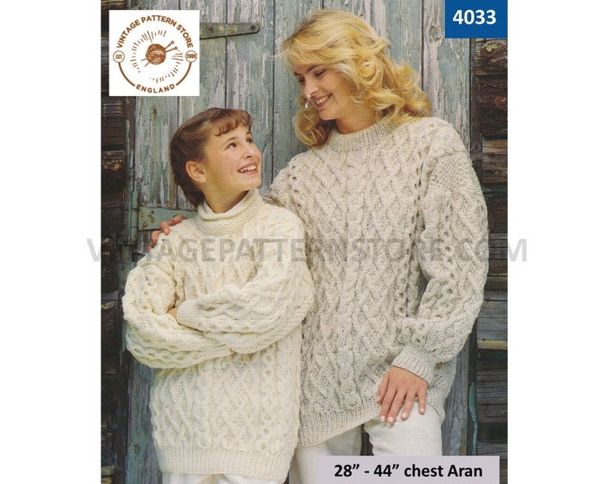 """Ladies Womens Girls 90s crew roll neck drop shoulder lattice cable dolman sweater jumper pdf knitting pattern 28"""" to 44"""" PDF download 4033"""