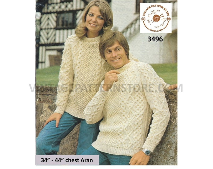 """Ladies Womens Mens 90s crew neck cable cabled raglan aran sweater jumper pullover pdf knitting pattern 34"""" to 44"""" Instant PDF download 3496"""