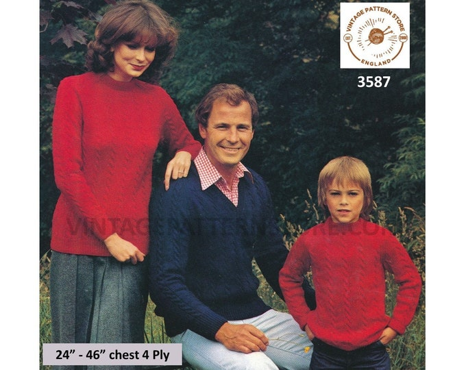 """Ladies Womens Mens Boys Girls 80s family crew or V neck rope cable 4 ply raglan sweater jumper pdf knitting pattern 24"""" to 46"""" Download 3587"""