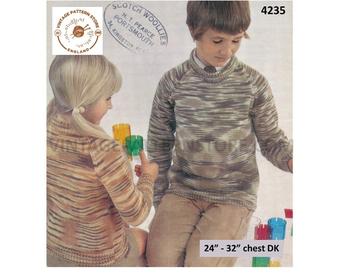 """Girls Boys 70s vintage plain and simple easy to knit DK crew neck raglan sweater jumper pdf knitting pattern 24"""" to 32"""" chest Download 4235"""