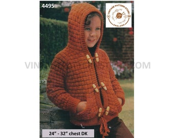 "Boys Girls Childrens 70s vintage retro hoodie hooded jacket raglan toggle tied duffle coat pdf knitting pattern 24"" to 32"" PDF Download 4495"