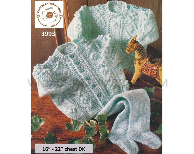 "Baby Babies 90s round neck cabled raglan aran cardigan sweater jumper & easy knit leggings pdf knitting pattern 16"" to 22"" PDF download 3993"