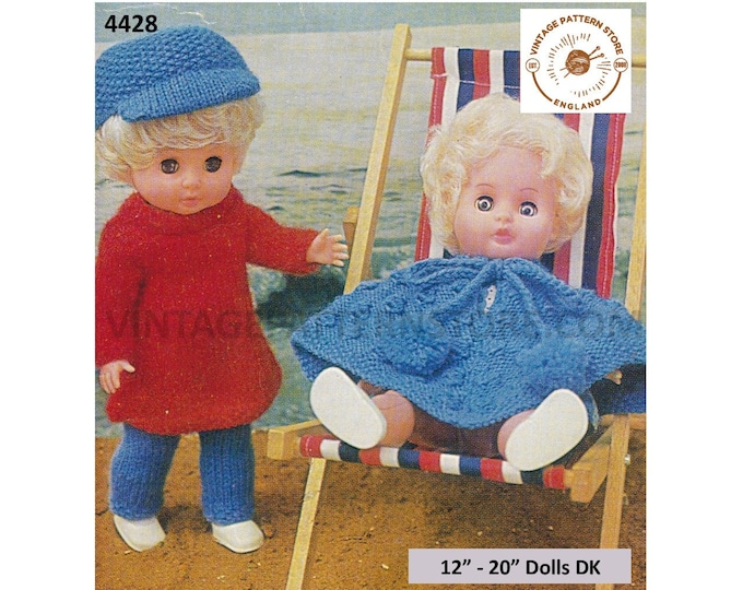 "80s vintage 12"" 14"" 16"" 18"" 20"" DK doll clothes poncho dress cap hat and trousers slacks pdf knitting pattern Download 4428"