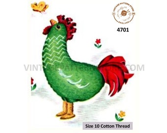 30s vintage retro easy to crochet cuddly toy rooster chicken pdf crochet pattern Size unstated PDF Download 4701