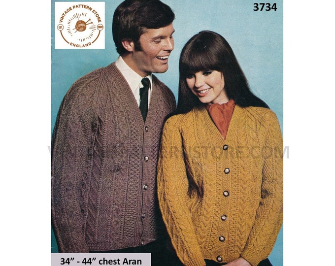 "Ladies Womens Mens Mans 60s vintage V neck cable cabled aran raglan cardigan pdf knitting pattern 34"" to 44"" Instant PDF download 3734"