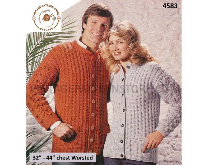 """Womens Mens 80s vintage worsted round neck rib ribbed raglan cardigan with cabled sleeves pdf knitting pattern 32"""" to 44"""" PDF Download 4583"""
