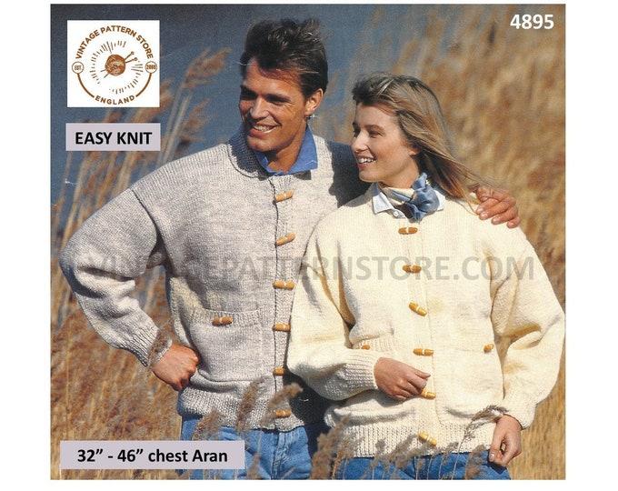 "Mens Womens 90s easy to knit round neck collared drop shoulder dolman aran cardigan jacket pdf knitting pattern 32"" to 46"" PDF Download 4895"