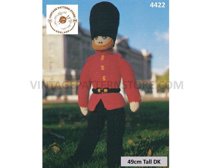 80s vintage DK toy soldier buckingham palace royal guardsman pdf knitting pattern 49cm Tall Instant PDF Download 4422