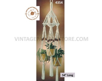 "70s vintage triple macrame plant hanger holder pdf macrame pattern 70s retro indoor garden gardening 54"" long Instant PDF Download 4354"