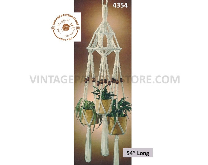 "70s vintage triple macrame plant hanger holder pdf macrame pattern 70s retro indoor garden gardening 54"" long Instant PDF Download 4354"
