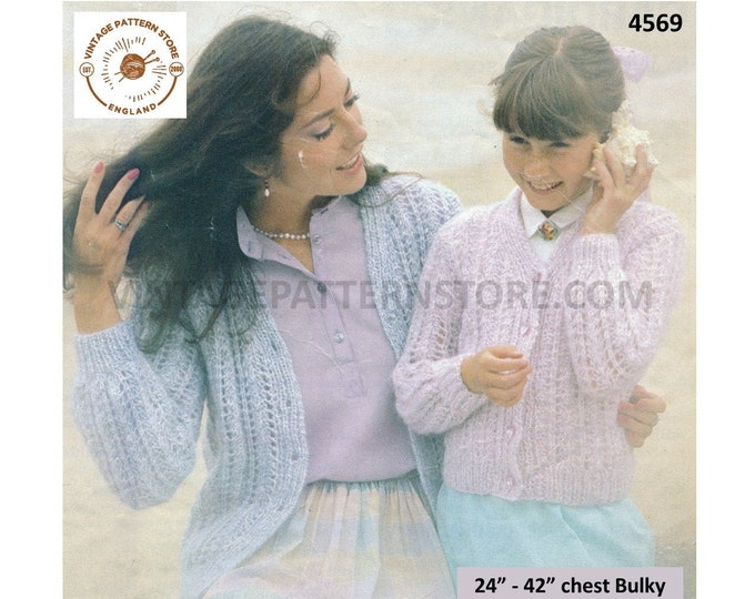"""Womens Girls Mother and daughter fun quick and easy to knit bulky V neck raglan cardigan pdf knitting pattern 24"""" to 42"""" download 4569"""