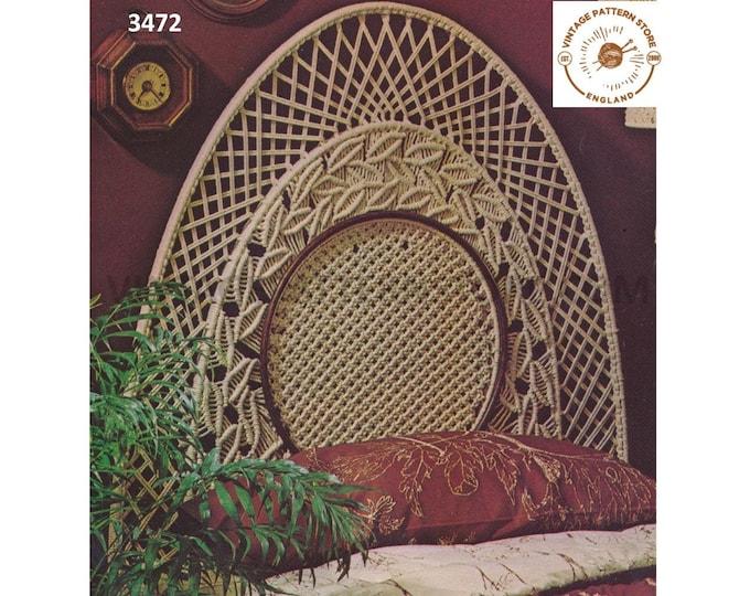 70s vintage macrame headboard furniture furnishing pdf macrame pattern Instant PDF download 3472