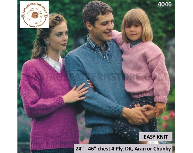 "Family 4 ply DK aran or chunky quick simple & easy to knit V neck drop shoulder dolman sweater pdf knitting pattern 24"" to 46"" download 4046"
