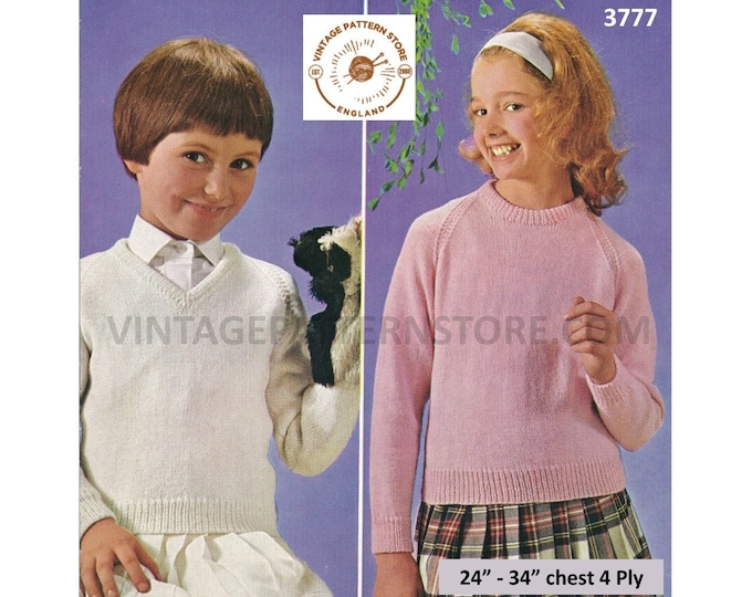 """Girls 70s plain and simple easy to knit V or round neck 4 ply raglan sweater jumper pdf knitting pattern 24"""" to 34"""" Chest PDF download 3777"""