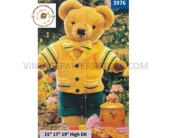 """90s 15"""" 17"""" 19"""" high DK Teddy Bear dolls clothes picnic suit trousers jacket and bow tie pdf knitting pattern instant PDF download 3976"""