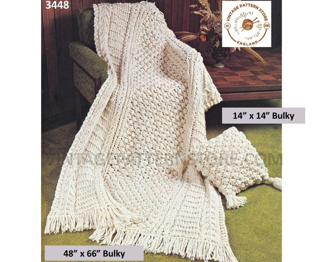 "70s vintage bulky knit fringed cabled cable afghan throw and square pillow pdf knitting pattern 48"" by 66"" & 14"" by 14"" PDF Download 3448"
