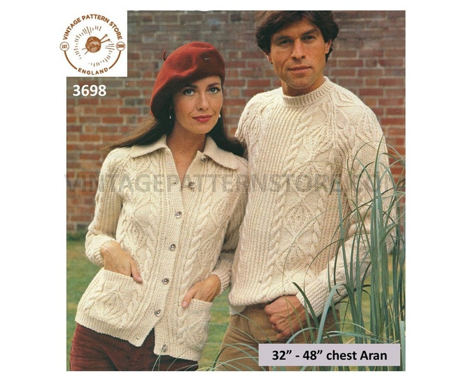 "Ladies Womens Mens 80s vintage crew or round neck cabled raglan aran sweater cardigan jacket pdf knitting pattern 32"" to 48"" Download 3698"