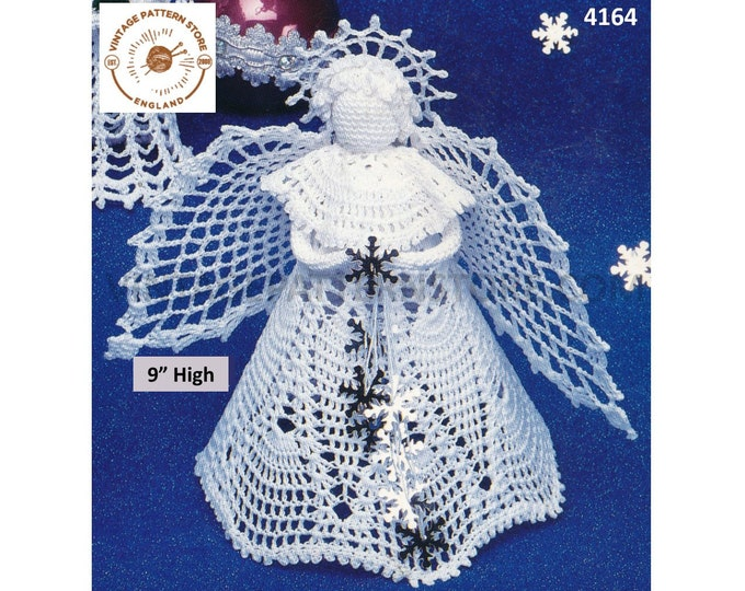 "80s vintage crochet tree topper angel fairy Christmas tree ornament decoration pdf crochet pattern 9"" High Download 4164"