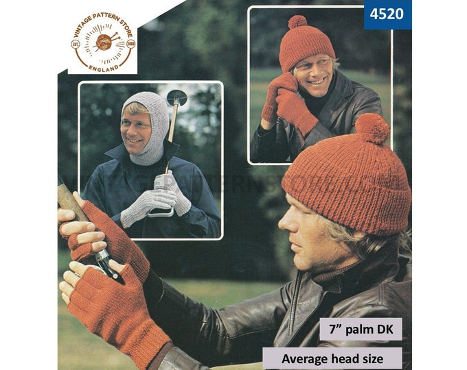 "Mens Mans 80s vintage easy to knit hat cap balaclava gloves & fingerless gloves pdf knitting pattern 7"" Palm Average Head Size Download 4520"